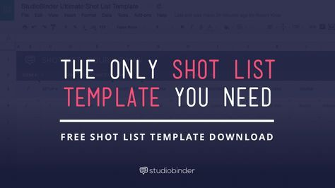 Download a shot list template made for industry pros. Featuring an elegant design, customizable drop down menus, and automatic shoot time calculator.