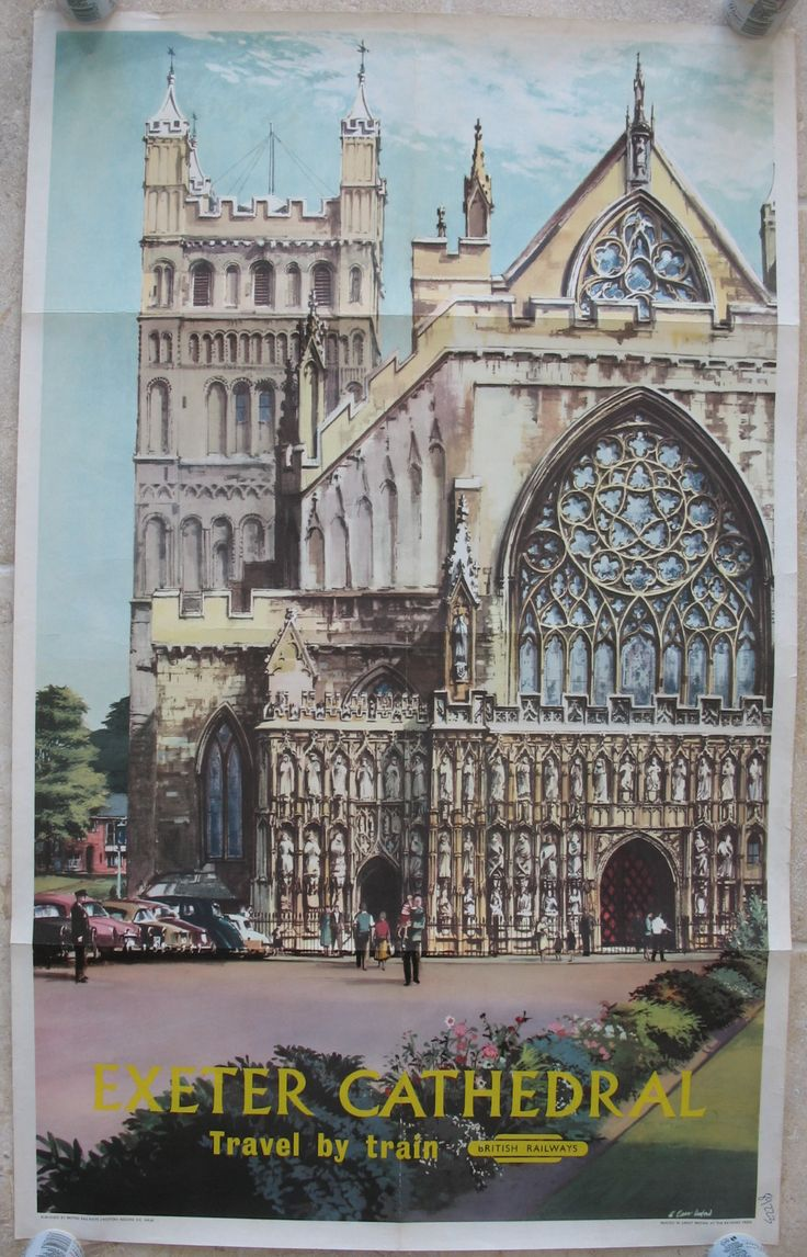 Exeter Cathedral, by Alan Carr Linford. A fabulous view of the very ornate west front of the cathedral. Original Vintage Railway Poster available on originalrailwayposters.co.uk