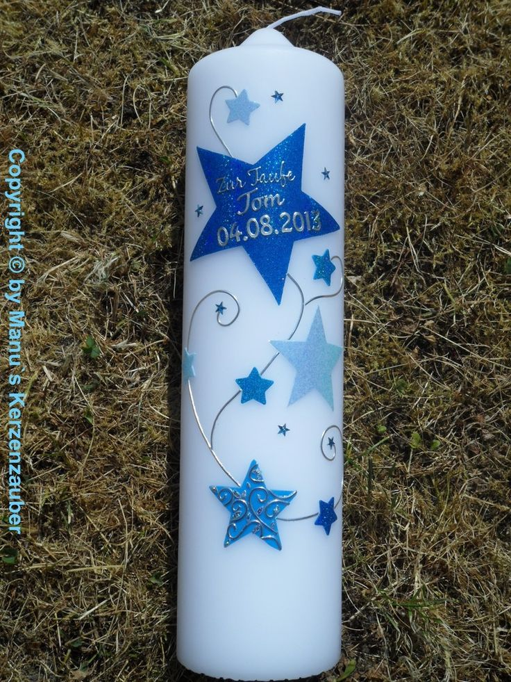 Taufkerze od. Kerze für Sternenkinder KSK300 Dunkelblau-Hellblau-Türkis