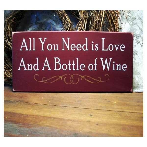 Love and Wine Sign Wood Painted Wine Lover Plaque Burgundy ($14) found on Polyvore.  For the kitchen!