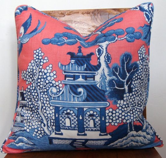 Lee Jofa Designer Pillow Cover Coral and Blue Size 20x20 'The Willow'