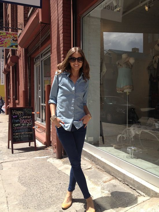 Chambray: Oliviapalermo, Southern Charms, The Weekend, Chambray Shirts, Denim Shirts, Double Denim, Ballet Flats, Olivia Palermo, Oxfords Shirts