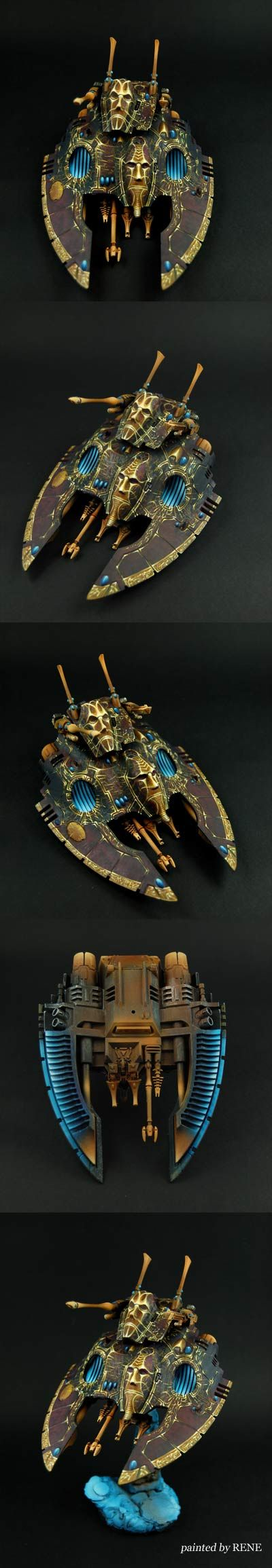 Eldar Falcon. Grim. Dark. Ancient. Look at those golden details on the fins.