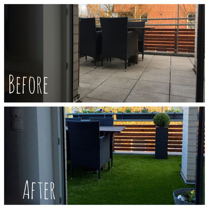 What artificial gras effects on a balcony - before and after #artificial #gras #DIY #before #after #flowers #water #plants #outdoor