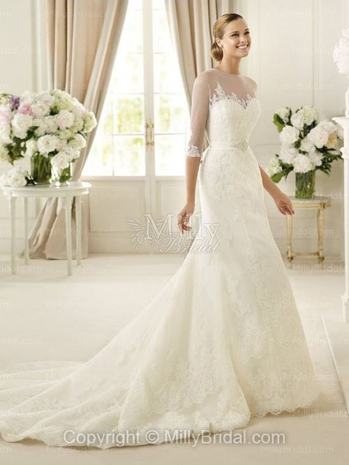 Organza Sweetheart Sheath Style Embellished Beaded Wedding Dress