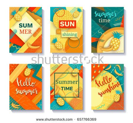 Color trendy vector set of geometric fashion posters or backgrounds with pineapples and bananas, bright summer fruit patterns
