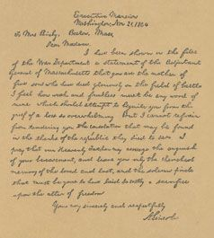 Lincoln's letter to Lydia Bixby who lost 5 sons in war. Follow the link to an easy read text version of the letter (It's worth your time.)