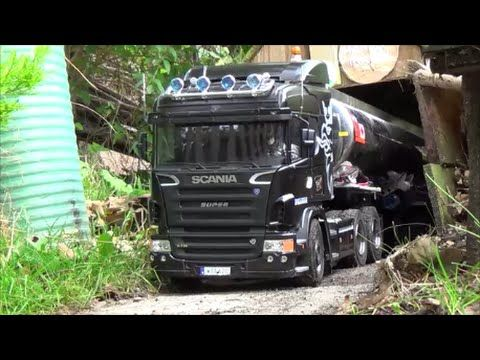 tamiya scania R730 with some new bits and road - YouTube