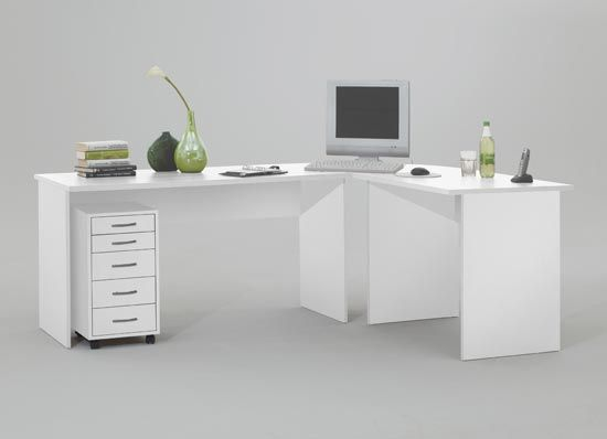 Modern corner computer desk table white till furniture for White modern office furniture