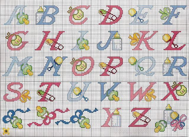 alfabeto bimbi ciucci biberon schemi punto croce