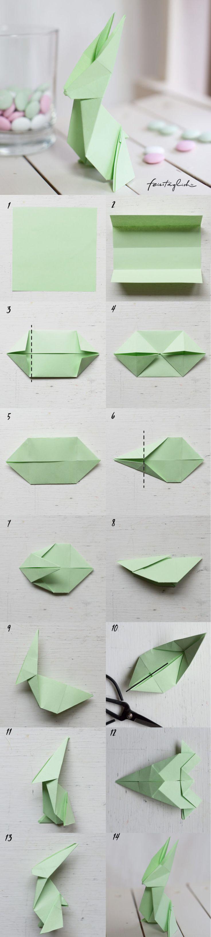 Origami Hase Faltanleitung DIY aus Papier
