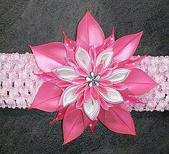 Detské doplnky - Detská elastická čelenka ružová hviezda - 8055781_