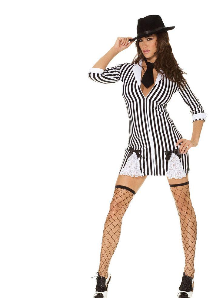Sexy Womens Mafia Gangster Girl Dress Halloween Party -4017