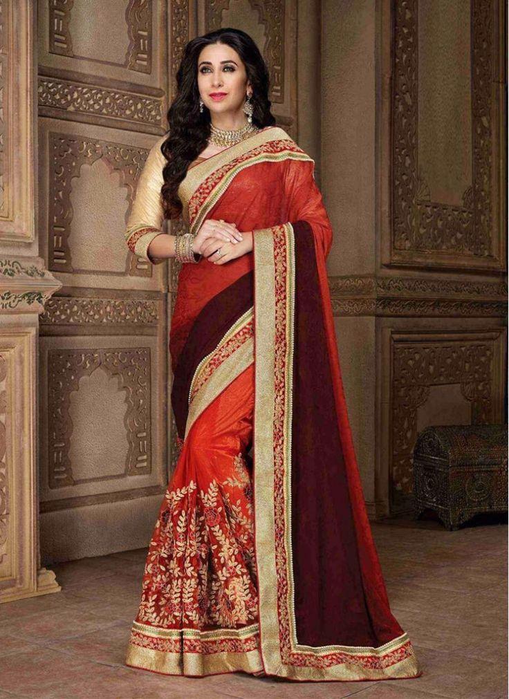 Especial Karishma Kapoor Rust and Brown Party Bollywood Saree