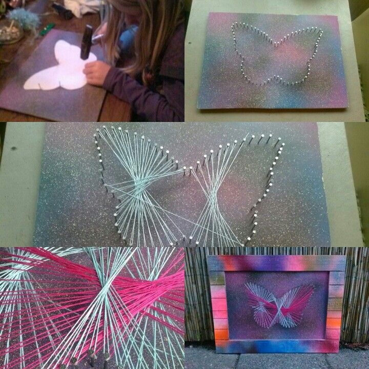 Cadeau voor oma. Pressent for grandma. String art #butterfly on airbrush art