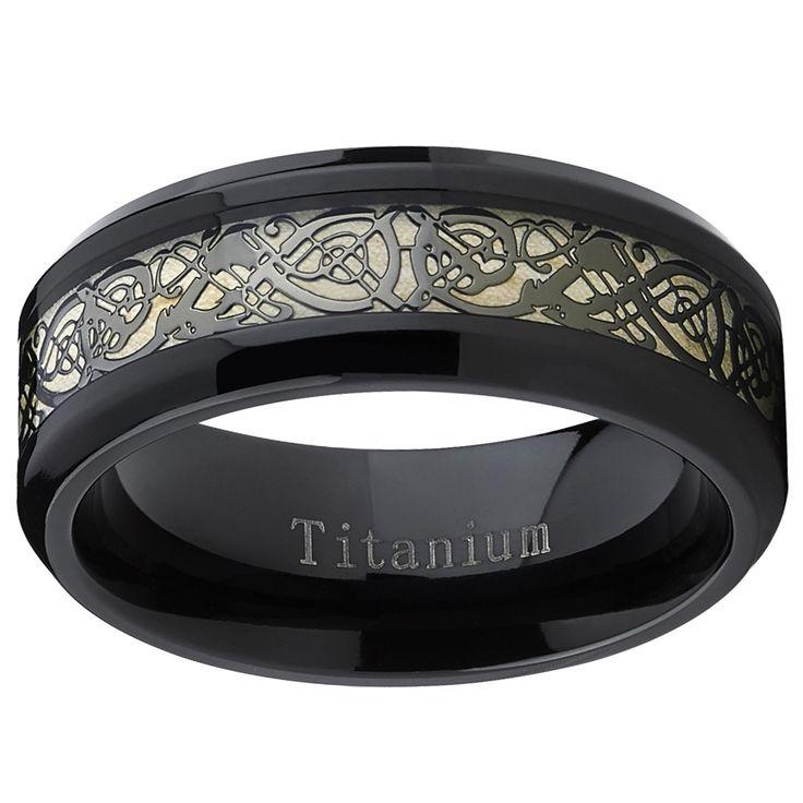 Amazing Oliveti Men us Black Titanium Celtic Dragon Inlay Comfort Fit Wedding Band Size