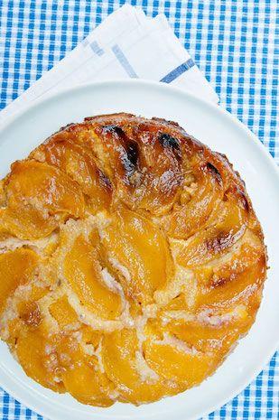 Lavender peach corn upside down cake