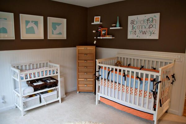 crib, orange, blue, wall decor, alphabet, frames, animals, carpet, white, changing area, baby, nursery, boy, newborn
