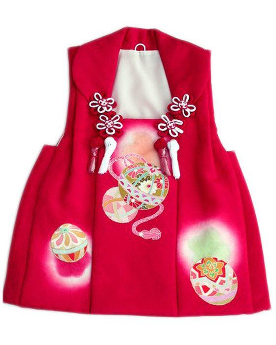 【七五三】被布コート単品ひふ三歳3歳三才着物正絹型友禅赤色/手毬文「日本製」Sサイズ