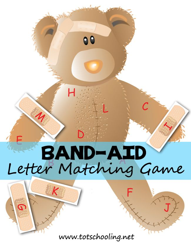 Free Band-aid Letter Matching Game (upper-case and lower-case versions are available in the PDF) from Totschooling