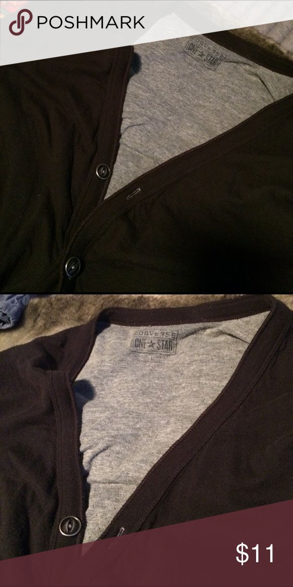 Converse One Star button down. Like new. Large. Converse One Star 5 button black sweater. Like new condition. L Converse One Star Sweaters Cardigan