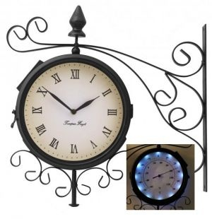"""Bracket Mounted Outdoor Solar LED Clock - 20cm (8"""") with Thermometer"""