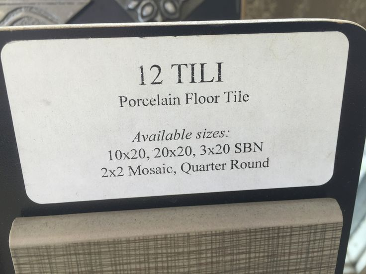 Label for one of the bathroom tiles pinned.