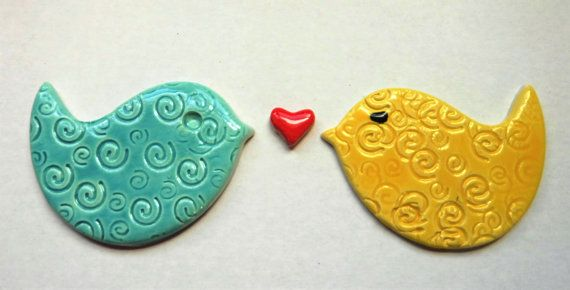 Handmade ceramic bird tiles which are made from ceramic clay and will make a great addition to your mosaic project.* Mosaic supplies* **QUANITY** 2 **COLOR**Yellow & Turquiose (glossy) **SHAPE** birds **SIZE** (refer to pictures) * Due to being handmade, sizes and thickness may vary slightly.* CHECK OUT MORE MOSAIC SUPPLIES-TILES --- http://mosaicmonkey.etsy.com These have been made out of wet clay then painted, glazed, and fired in my kiln twice which makes them strong a...