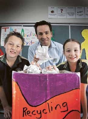 Going green: Narellan Vale Public School students with Keep Australia Beautiful chief executive Peter McLean, make use of the recycling messages they recently learnt.
