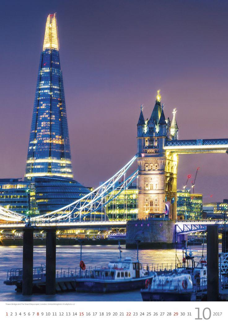 Tower Bridge and The Shard Skyscraper, London, United Kingdom /  Kalendář Evropa 2017