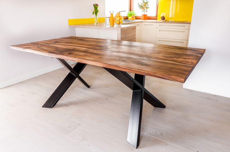 Royal walnut design dinning table on a steel frame made by Pracownia Stołów.