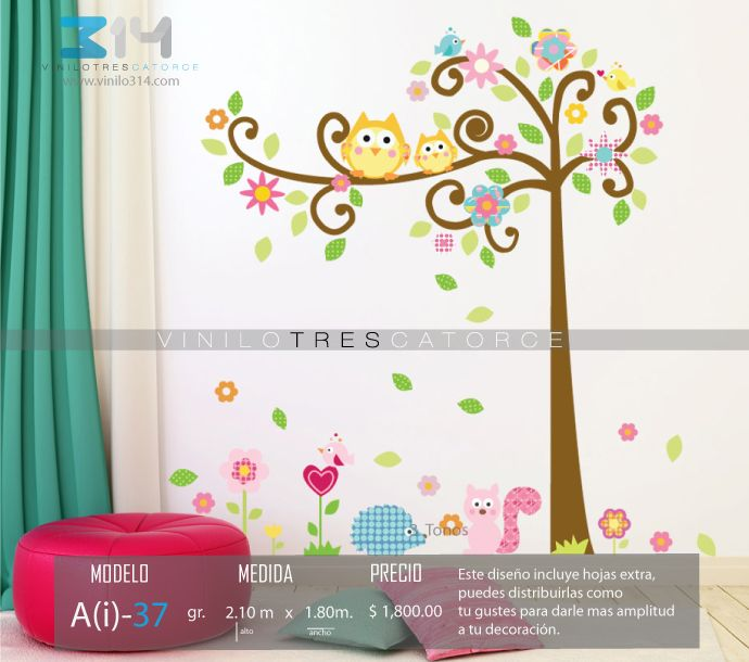 Vinilos decorativos rboles infantiles sticker decorativo for Stickers pared ninos