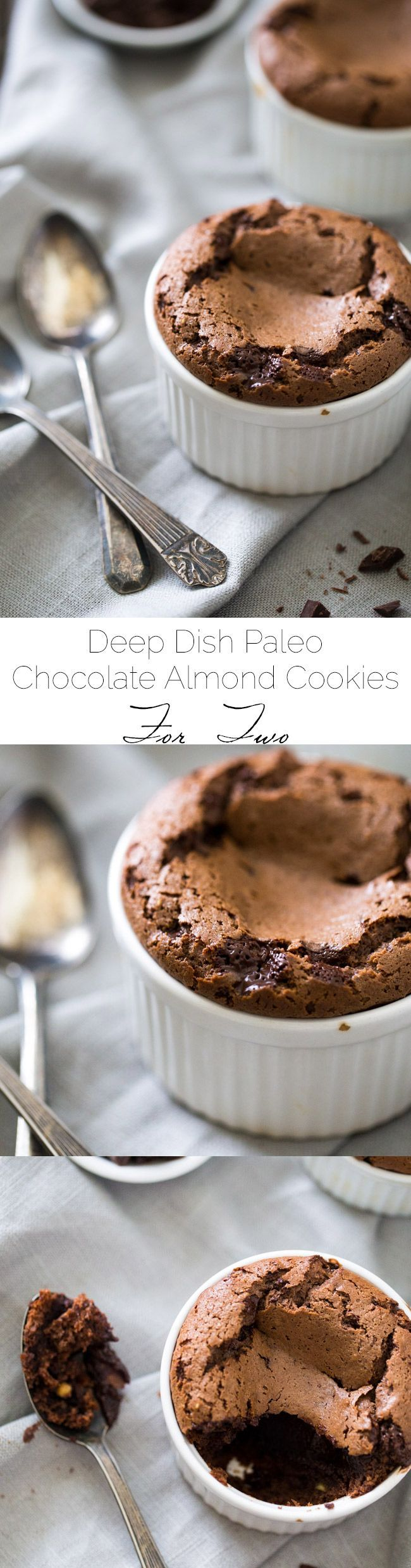 Deep Dish Paleo Chocolate Chip Cookies for 2 - Ready in under 25 minutes, and SO rich and HEALTHY. You'll LOVE these! | Foodfaithfitness.com | @FoodFaithFit