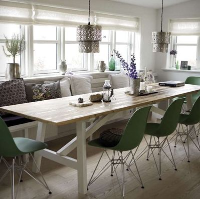 Farm Table Eiffel Base Molded Green Chairs Bench With Cushions