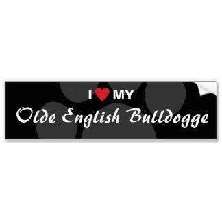 I Love (Heart) My Olde English Bulldogge Bumper Stickers