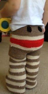 Crochet Sock Monkey Pants @Karen Jacot Darling Space & Stuff Blog Hartl