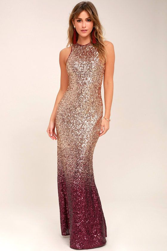 20e6d781d46b Lulus Exclusive! Let yourself shine in the Infinite Dreams Burgundy and  Rose Gold Ombre Sequin Maxi Dress! Shiny rose gold sequins sparkle as they  ...