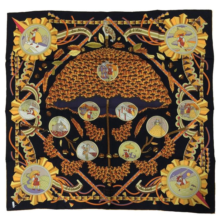 Hermes L'Ombrelle Magique silk twill scarf by Pierre Marie ...