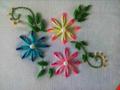 Flores en Puntada Margarita Doble Color|Double color thread flowers with daisy stitch|Bordado a Mano - YouTube