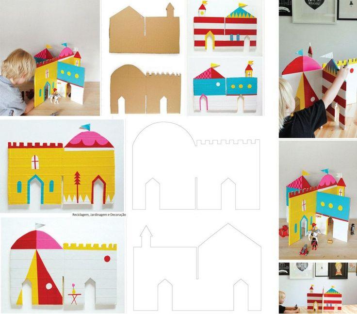 Sugestão para atividade com as crianças, no final de semana! Reutilizando papelão, montar este lindo castelinho... são apenas duas peças encaixadas.  Precisaremos também de papéis e canetinhas coloridas! (:  Instruções sobre feitio e molde, aqui:  http://mermag.blogspot.com.au/2012/05/interlocking-cardboard-castle-diy.html