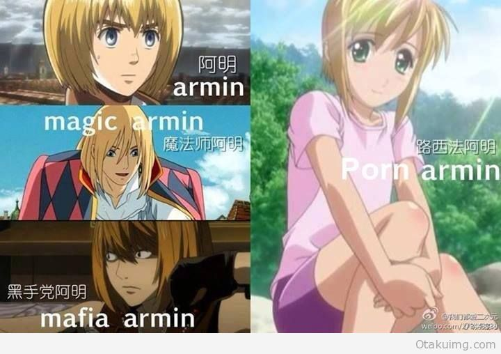 armin - attack on titan, howl's moving castle, death note ...and boku no pico…