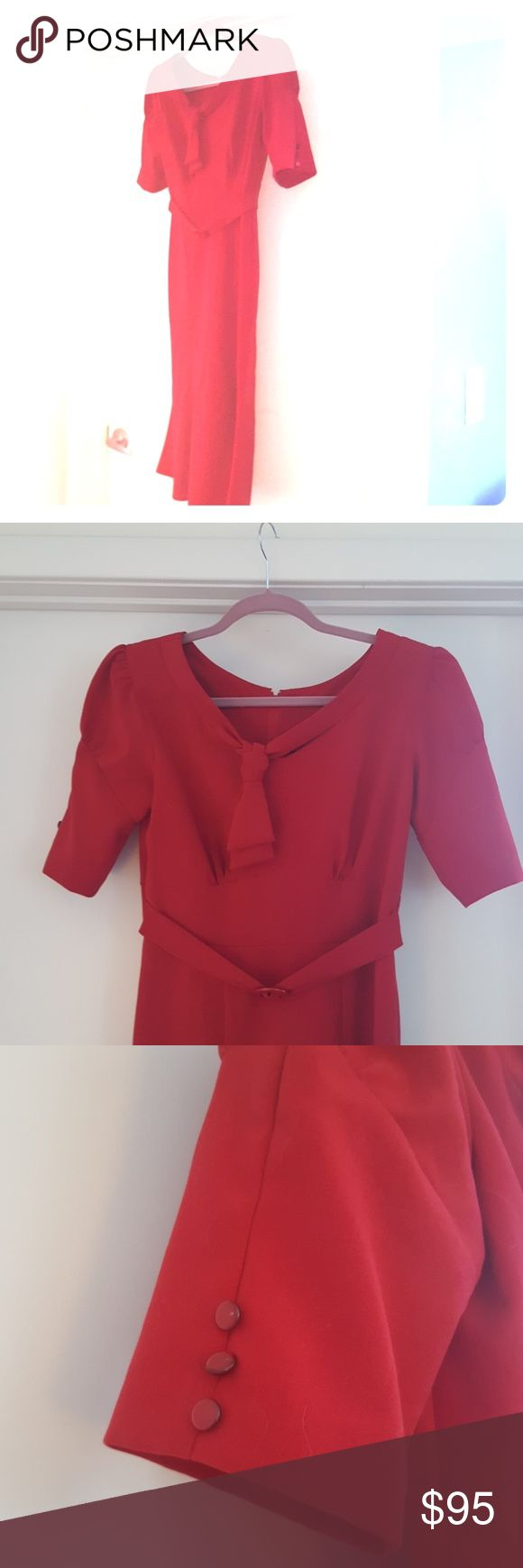 Stop Staring! Retro dress Vintage sz M PRICED TO NEGOTIATE. make an offer. Stop Staring! Retro dress Vintage sz M red. Worn once for a Vintage party! Very form fitting. If you have never owned an Alicia Estrada Stop Staring dress you should try! Sooo well cut they are sure to suit anyone. trumpet style super flattering would fit a regular SIZE 8 (me at the time) or a 6 less tight :) ask me questions! Stop Staring Dresses Midi