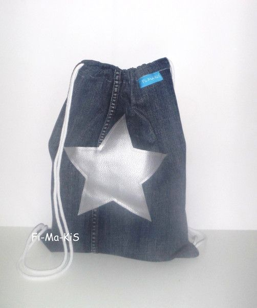 Turnbeutel & Sportbeutel - Turnbeutel Sportbeutel Rucksack Jeans Stern - ein Designerstück von Fi-Ma-KiS bei DaWanda