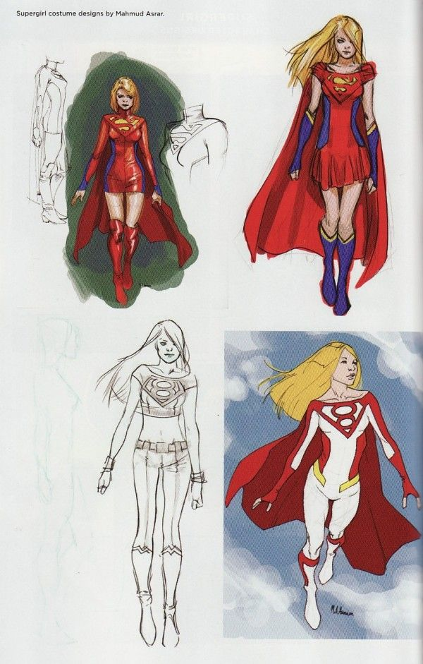 """:""""Note: The P:R said more than their fair share about the New 52 Supergirl design back when it was originally announced in 2011, but flipping through a recent DC publication we saw these amazing alternate designs series artist Mahmud Asrar submitted during the preparations for the book. What could have been . – Chris A."""""""