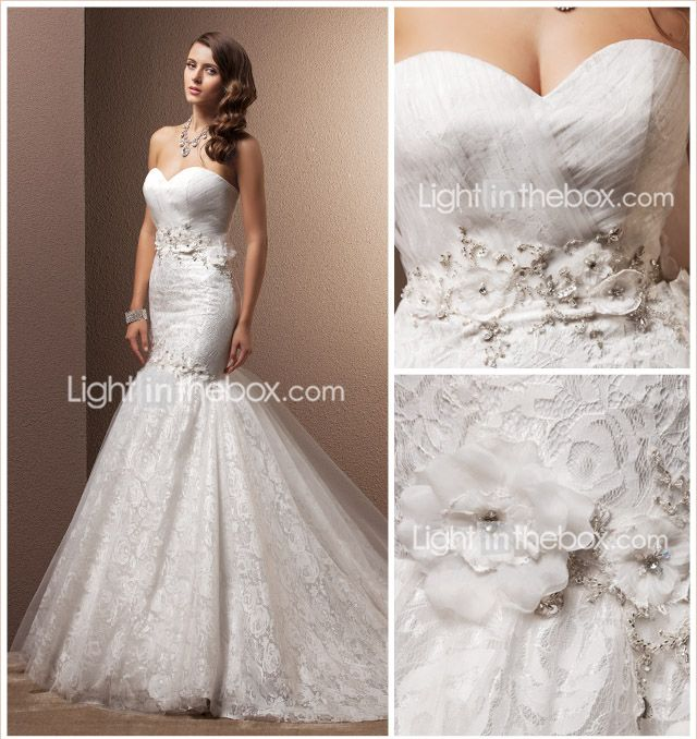 Vestido de novia trompeta / sirena cariño tribunal tren Lace - CLP $ 211.150