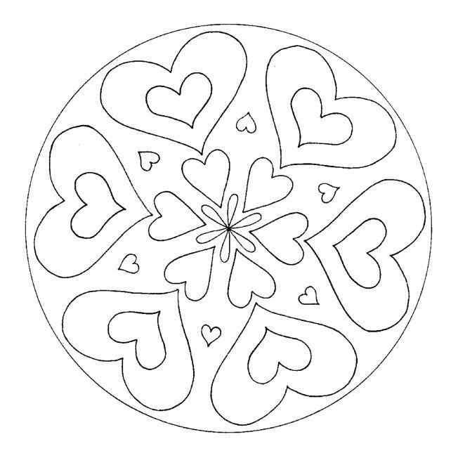 HerzMandala 3 moederdag vaderdag Mandala Mindfulness colouring en Valentine theme