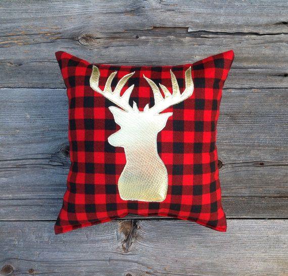Buffalo Plaid Pillow, Lodge Decor, Deer Pillow, Gold Christmas, Holiday Decor, Gifts Under 30, Antler, Throw Pillow, Cushion, Metallic, red