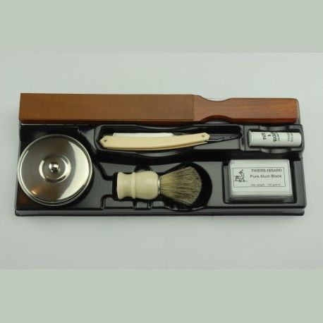 This starter kit for straight razors from Thiers Issard contains everything required to begin straight razor shaving.