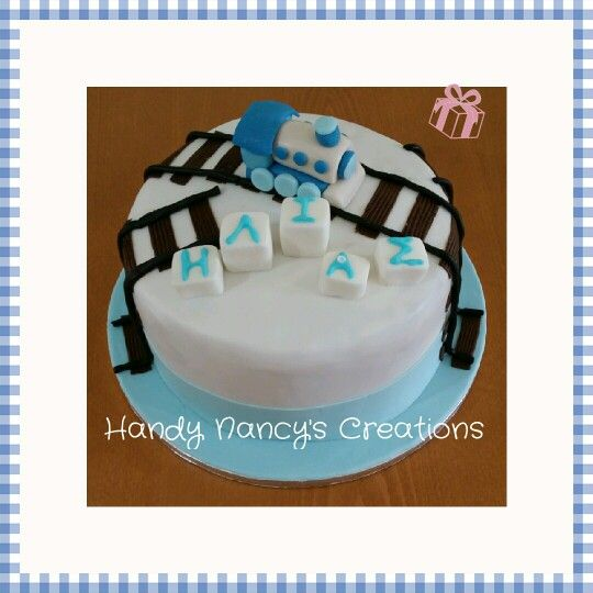 boy's train birthday cake