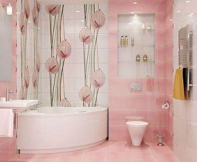 Цветы - узор на кафельной плитке в ванной